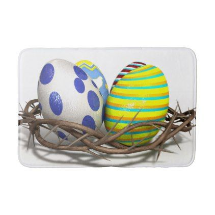 Crown Of Thorns With Easter Eggs Bathroom Mat  $33.50  by Faith_And_Pixels  - custom gift idea