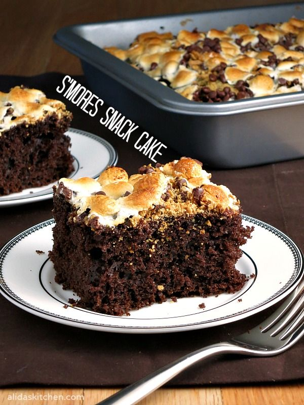 S'mores Snack Cake - chocolate cake topped with marshmallows and graham cracker crumbs. | alidaskitchen.com