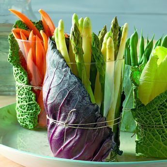 Crudite Cups How-To - Mix leaves from different types of cabbage for a play of colors and textures on the table.