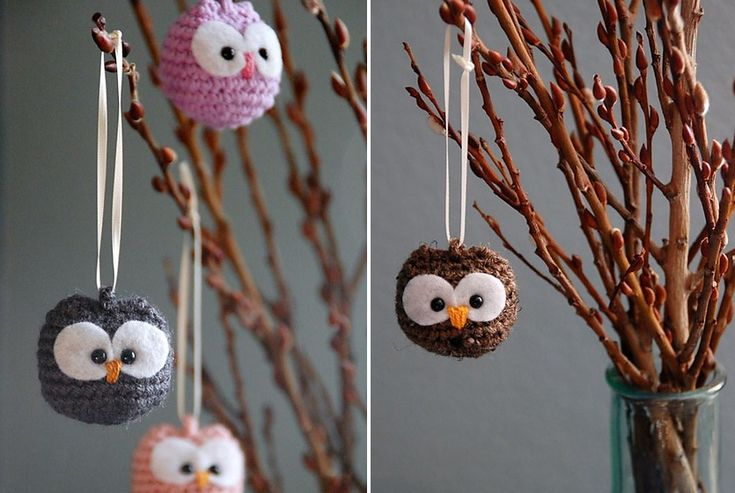 Hanging crochet Baby Owl Ornaments