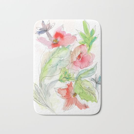 A fast, spomtaneous and fresh black ink and watercolours flowers and leaves painting. #bath #mat #shower #pink #tropical #flowers #artistic #painting #watercolours #homedecor #tropical #nature
