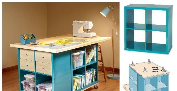 Ikea Kallax Cube Craft Table Diy Tutorial Diy Magazine In 2020 Craft Table Diy Craft Table Diy Table