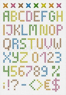 Farverige korssting store bogstaver engelske alfabet | Vektor | Colourbox on Colourbox