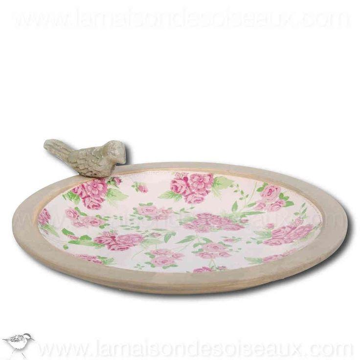 vasque bain d 39 oiseau en terre cuite maill e decor roses bain et abreuvoir pour oiseaux. Black Bedroom Furniture Sets. Home Design Ideas