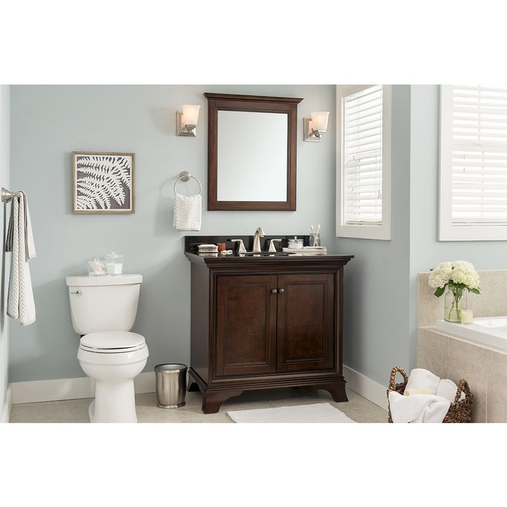 Bath Room - Shop allen + roth Eastcott Auburn Undermount Single Sink Poplar Bathroom Vanity with Granite Top (Common: 37-in x 21-in; Actual: 36.92-in x 21.96-in) at Lowes.com