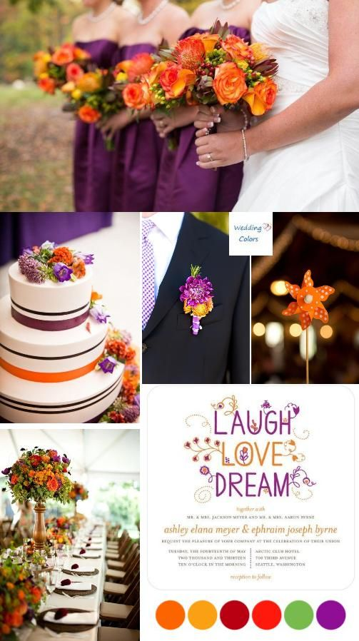 Orange an Purple Fall Wedding Palette but with green dresses instead