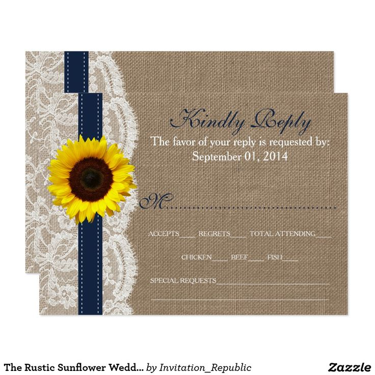 zazzle wedding invitations promo code%0A The Rustic Sunflower Wedding Collection  Navy Card