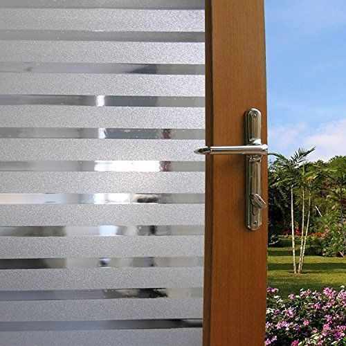 No-glue Static Cling Frosted Privacy Stripe Window Film Non-Adhesive Office  Room