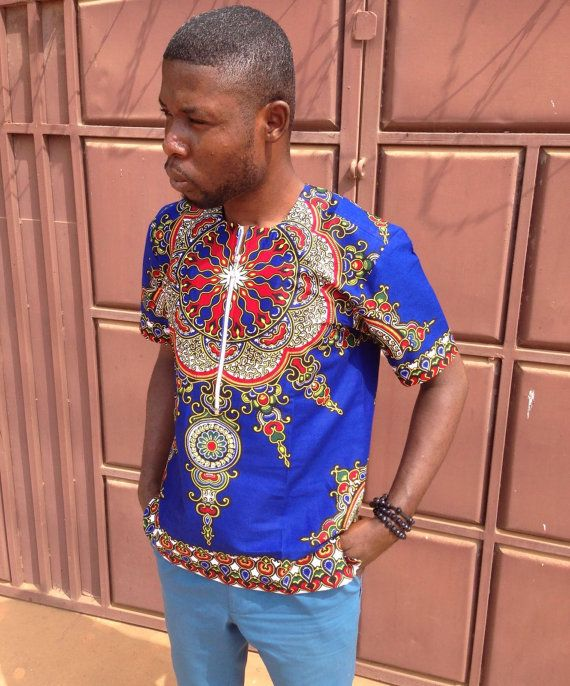 Men's Dashiki Shirt Round neck/ dress shirt/ by AdinkraExpo
