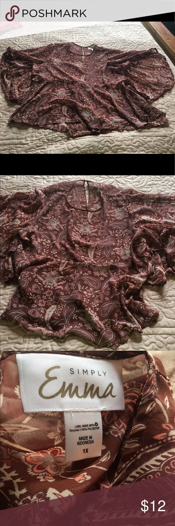 Simply Emma Sheer Blouse 💵 FINAL PRICE DROP! Simply Emma Sheer Blouse- neutral brown paisley print- bell type sleeves. Cute for spring with shorts or capris. Simply Emma Tops Tunics