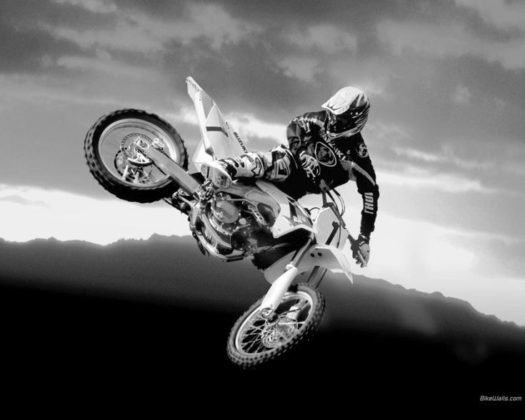 black and white photos | Dangerous stunt Dirt Bike black and white wallpaper
