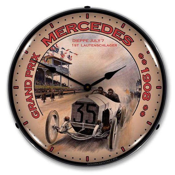 Antique Style Grand Prix Mercedes Led Lighted Backlit Clock Clock Wall Clock Wall Clock Light