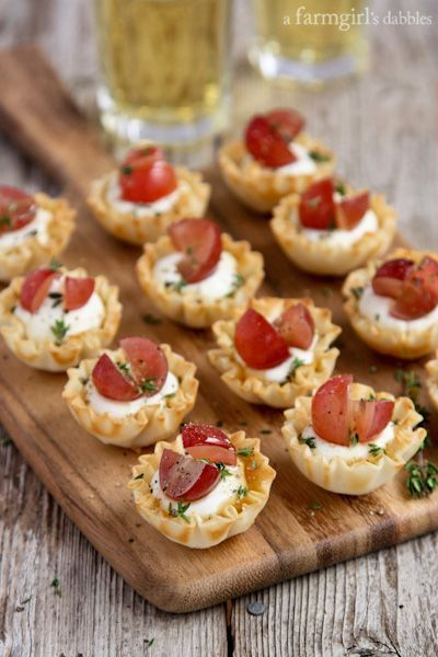 Mini Phyllo Cups with Whipped Goat Cheese, Grapes, and Thyme from A Farm Girl's Dabbles
