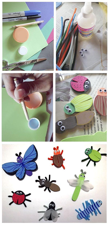 Insectos de Foami para Kinder.   Ideas para hacer una maqueta de insectos a niños de kinder. Materiales foami de colores, plumones, pegamento, tijeras, limpiapipas, ojitos; las tapas de plástico son como guía para trazar los cuerpos. Se puede trazar y recortar todas las piezas para que ellos participen pegando los ojos, alas y patas.