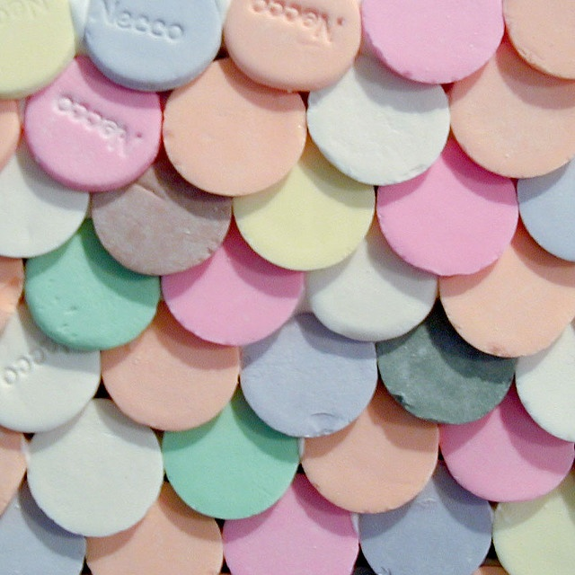 pastel Necco shingles! Great for ginger bread house