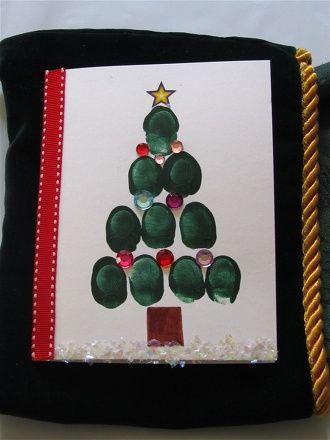 Thumbprint Christmas Tree Cards Activity