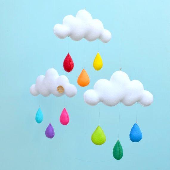 Rainbow mobile, cloud trio, nursery decor