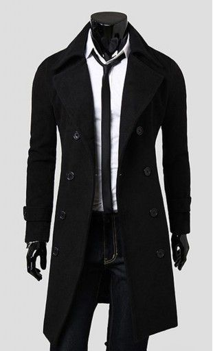 Mens modern slim fit turndown double breasted coat with wide collar and detailed cuffs