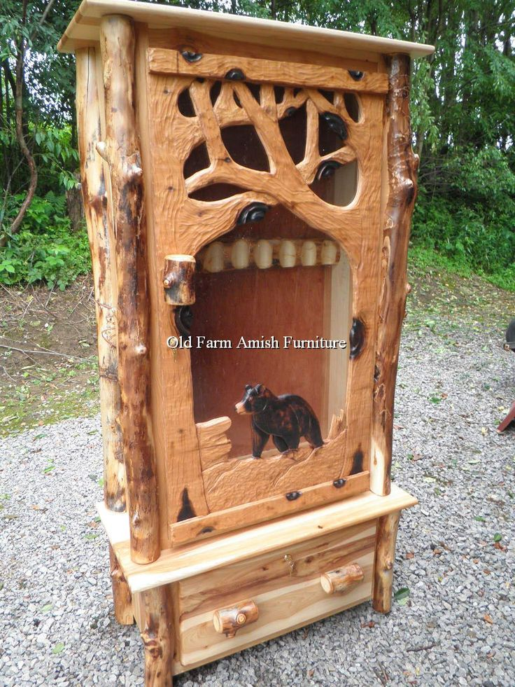 1000 images about handcarved log buck gun cabinet pa amish made on pinterest gun cabinets. Black Bedroom Furniture Sets. Home Design Ideas