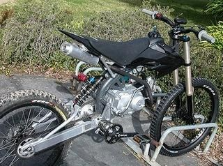 GAS ENGINE Four-Wheel Mountain Bike | Motoped combines mountain bike parts with a standard Honda XR50