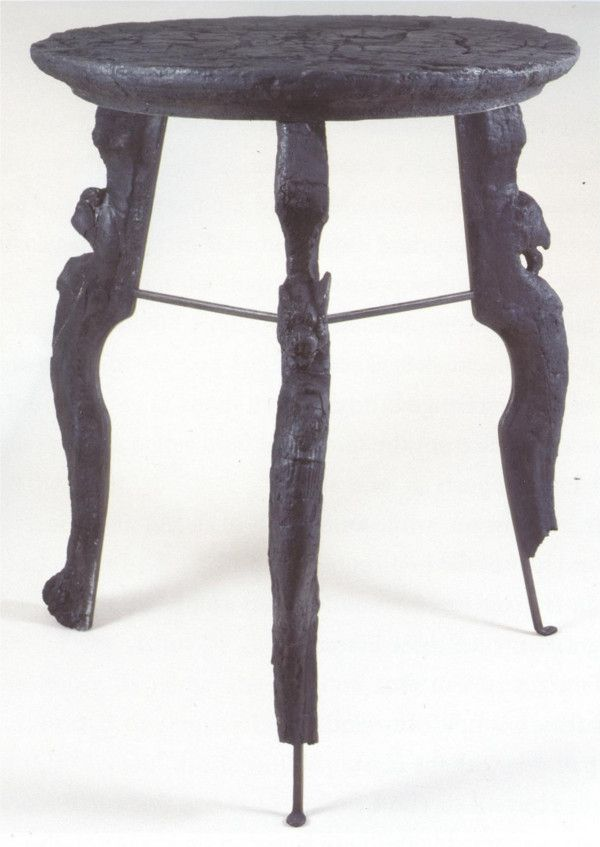 Attractive Small Table Of Carbonized Wood, Buried In The Eruption Of Vesuvius, In  Herculaneum, (Roman Furniture). Leg Detail With Mythological Creature.