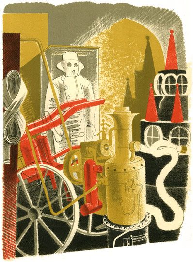Eric Ravilious: 'Fire Engineer' as published in 'High Street' by J M Richards, London, 1938 (lithograph)