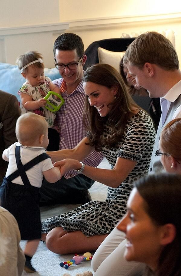 Too cute! Kate & George at a play date at Government House in Wellington, April 9, 2014