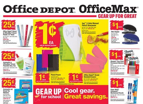 OfficeDepot OfficeMax Back to School Deals 75 list of when stores are having their back to school sales
