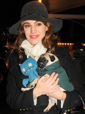 Kelly Brook leaves the theatre in London with her dog