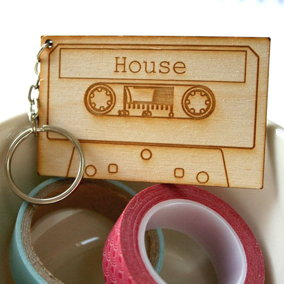 House Music. audio Compact Cassette Key Ring, made from wood for your House. Lovely new home gift.