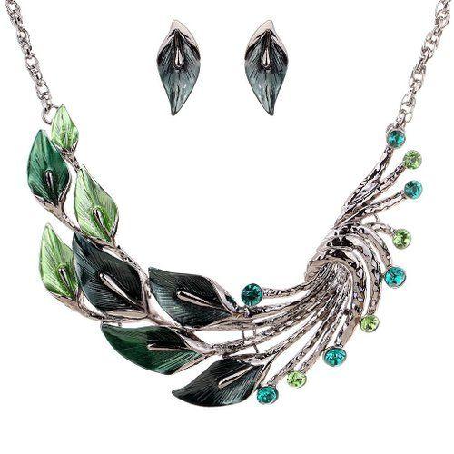 Yazilind ethnische Art tibetischen Silber Green Pfau-Kristall Chunky Bib Ohrringe Halskette Schmuck-Set Hochzeit