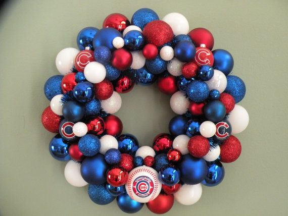 CHICAGO CUBS TEAM Baseball Ornament Wreath by dottiegray on Etsy