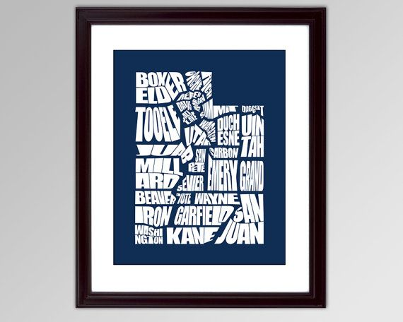 Utah County Word Map  A typographic word map of the by inkofme, $15.00