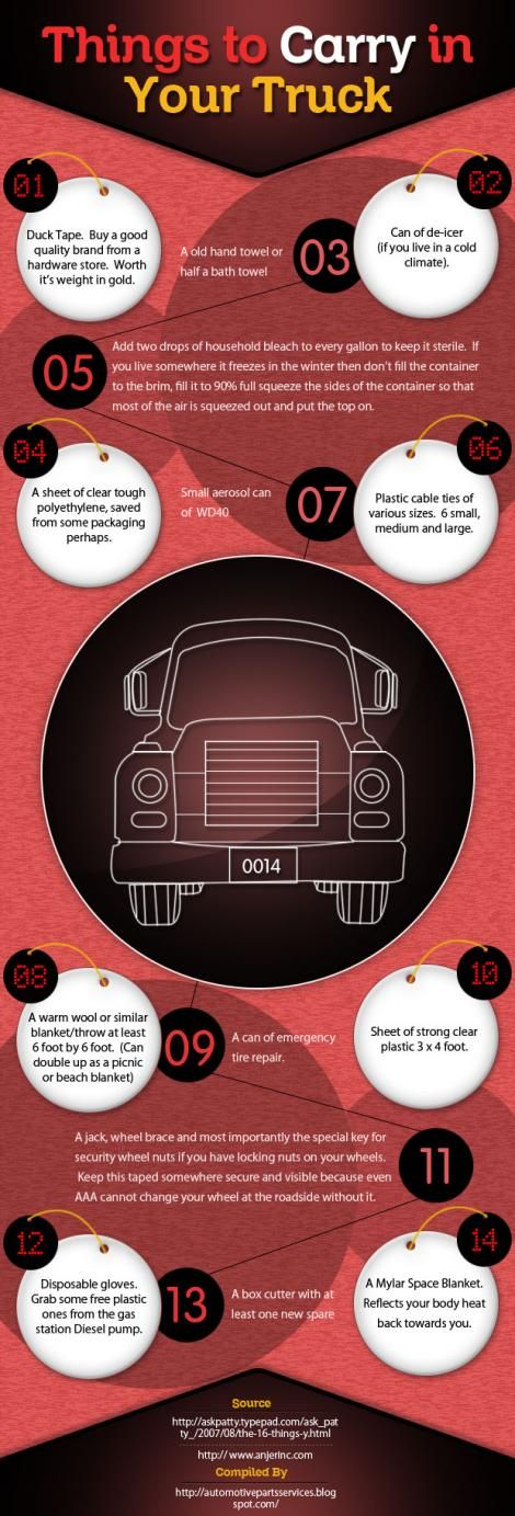 Things To Carry In Your Truck By: http://brewercommercialservices.com