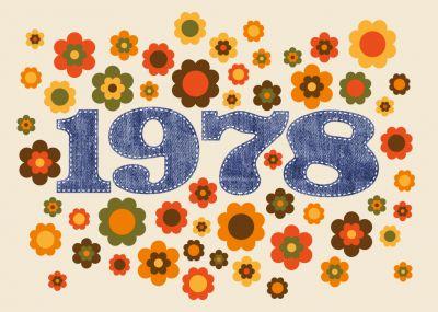 Coole Einladungskarte Mit Typischen Seventies Blumen Und Zahl 1978 In  Jeanslook   Vierzig Jahre Werden