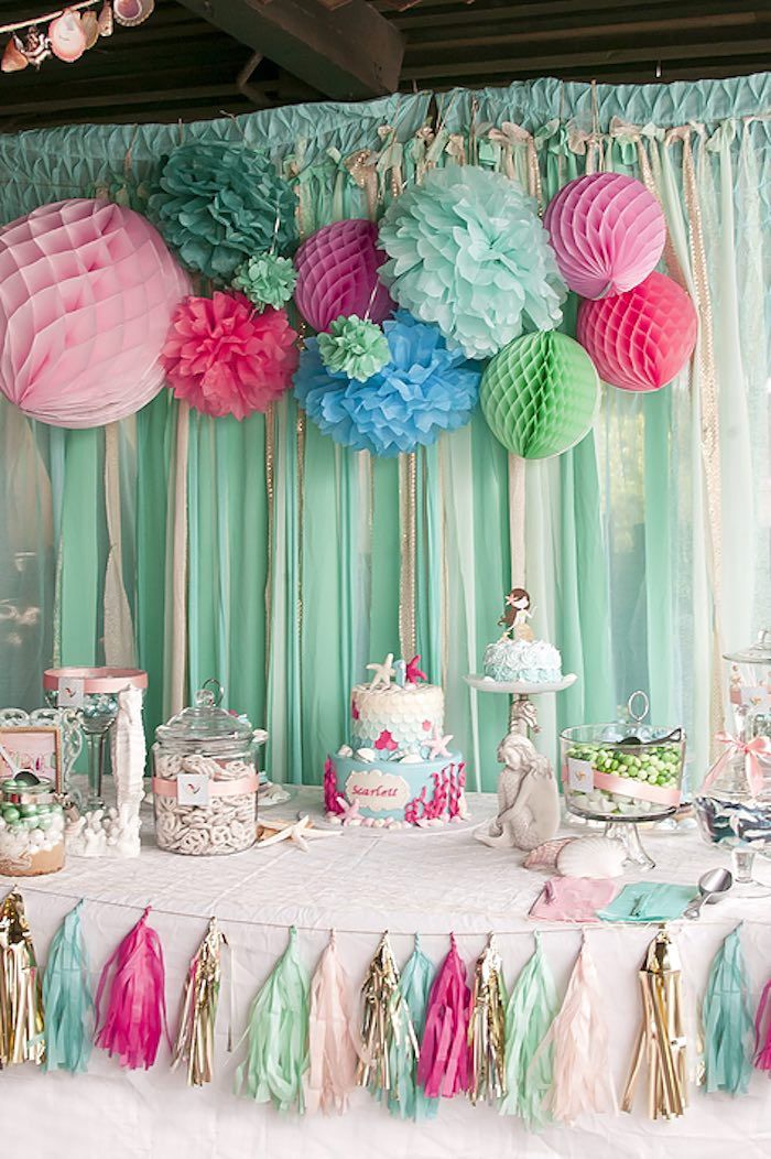 Partyscape from Littlest Mermaid 1st Birthday Party at Kara's Party Ideas. See more at karaspartyideas.com!