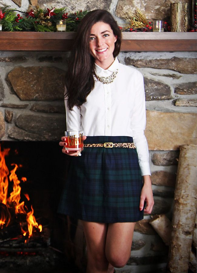 Plaid skirt, crisp white shirt, and leopard print belt - couldn't have done it better!