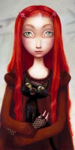 Benjamin Lacombe. Art, illustrations, posters. Red haired girl with black cat.