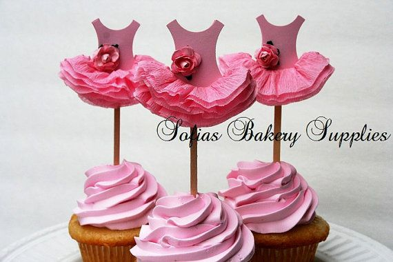 6pc set Rose Ballerina cupcake toppers ballet by sofiabakerysupply, $14.00 - LOVE THIS!!!
