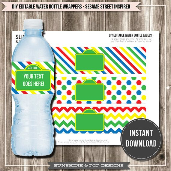 Instant download editable sesame street inspired water for Bubble bottle label template