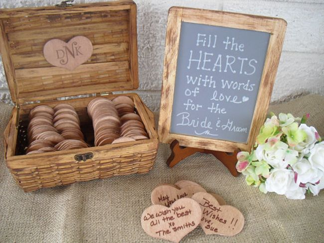 5 quirky alternatives to traditional wedding guest books - wooden heart messages
