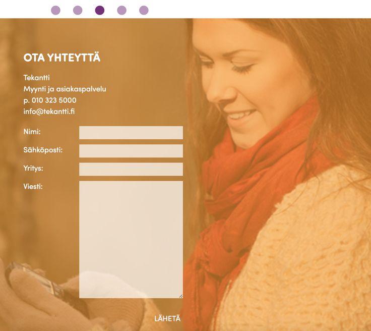Tekantti, www-sivut, ota yhteyttä-lomake. Suunnittelu: Heidi Sarjanoja/Valokki Design.