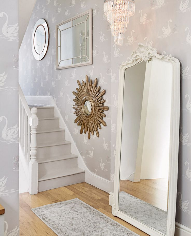 How sweet is this grey swan print wallpaper..this is such a romantic and sweet stairway. This wallpaper is from Laura Ashley: https://www.lauraashleyusa.com/collections/home-furnishings-wallpaper/products/swans-silver-wallpaper