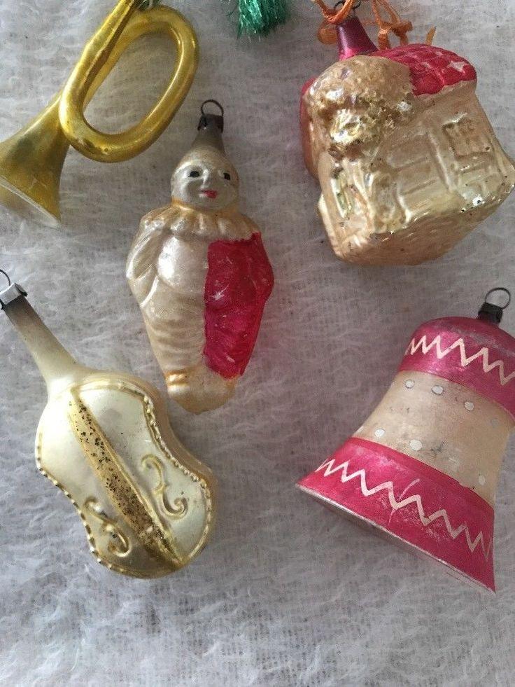 5 Antique Glass Figural Christmas Ornament Lot Bell House Clown Horn Violin