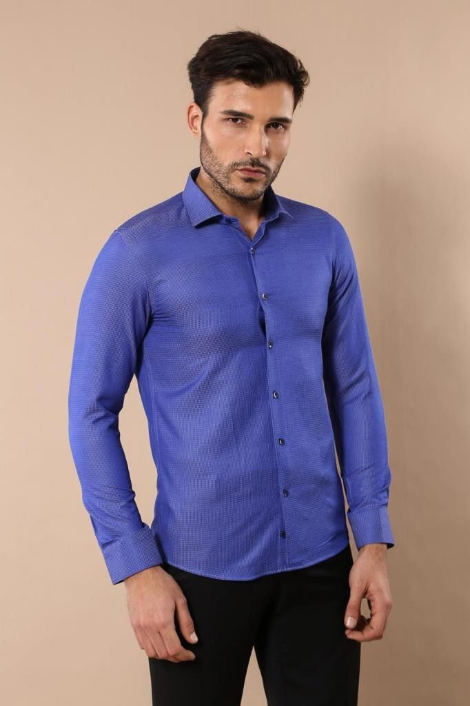 قميص أزرق بأزرار رجالي Mens Tops Shirts Shirt Dress