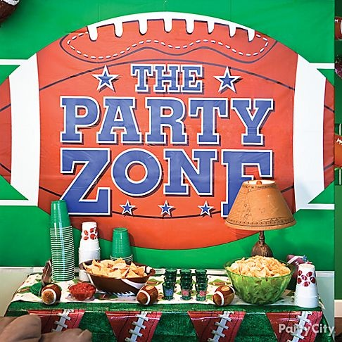 Football fans will love a self-serve buffet. Hang wall decorations to turn the buffet into the end zone!