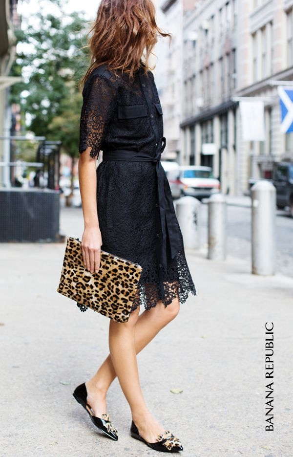 Lace + Leopard = Love. Go from the office to dinner or date night in this versatile lace belted dress. Wear it with tights and heels when temps drop, or keep it playful and coordinate your accessories with this LBD. Our favorite combo of the moment? An oversized faux fur leopard clutch & our leather kiltie oxford flats. This look is perfect for everything from an office lunch meeting to date night.