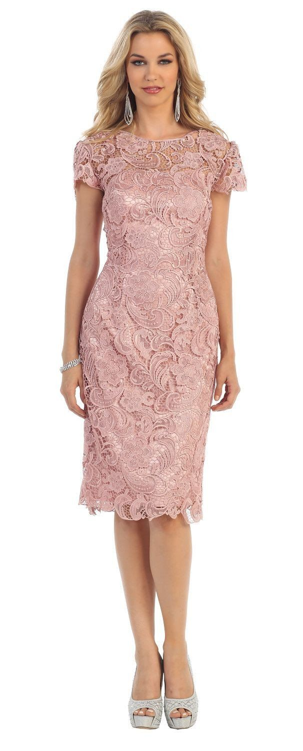 This Beautiful Homecoming Short Formal Evening And Mother Of Bride Dress Features Round Neckline And L Boho Cocktail Dresses Lace Formal Dress Dusty Rose Dress