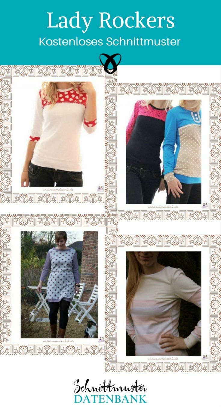 Oberteil für Frauen Lady Rockers von Mamahoch2 Kostenloses Schnittmuster gratis Nähanleitung Shirt Jerseykleid nähen