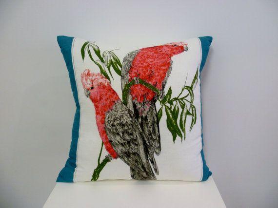 ACL Vintage TeaTowel Australian Galahs Cushion by acolourfullife1 • Australia souvenir craft